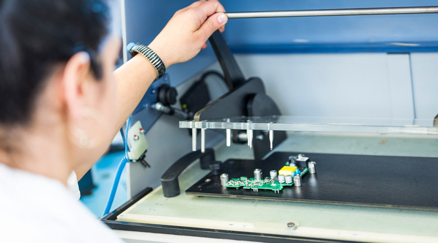 In addition to the PCB assembly EBE offers electronic tests in order to minimize the risk of malfunctions in the systems' life-cycle. EBE develops product-specific test adapters and equipment