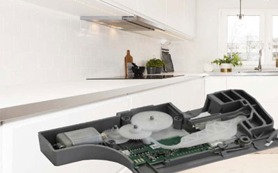 EBE develops intelligent door opening modules for the comfortable opening of refrigerators or dishwashers